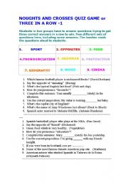 English Worksheets: Three in a Row