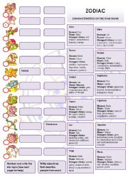 English Worksheet: STAR SIGNS + Song ZODIAC by Roberta Flack (TO BE + ADJECTIVES)