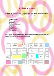 English Worksheet: The Map Game-(Information gap activity)