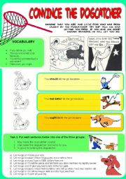 English Worksheet: ACTIVITY: Convince the dogcatcher (to let you free). Giving reasons. (w Solutions)