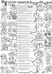 English Worksheet: SEASONS  #2  What normally happens on... Summer Spring Fall Winter