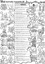 English Worksheets:  SEASONS  #1 What normally happens on...Summer Spring Fall Winter