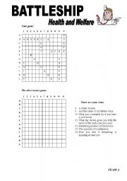English Worksheet: Battleship on Health and welfare (Two pages)