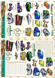 English Worksheet: Means of transport - Land