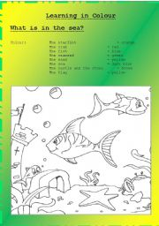 English Worksheets: What�s in the sea? - Learning new words related to the sea through colouring