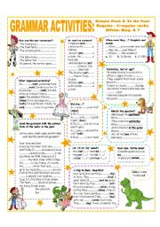 English Worksheet: SIMPLE PAST - TO BE PAST (AFFIRM. NEG. & QUESTIONS) - REGULAR & IRREG. VERBS