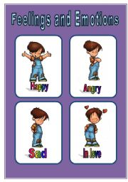 English Worksheet: Feelings and Emotions little-flascards
