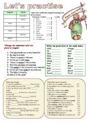 English Worksheets: Singulars-Plurals