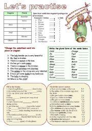 English Worksheet: Singulars-Plurals