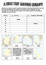 English Worksheet: A NICE TRIP AROUND EUROPE 3/3