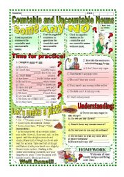 English Worksheets: Worksheet: Countable and Uncountable Nouns (Some,any,no) - With Answer Key