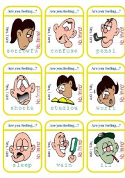 English Worksheets: Complicated Feelings Game Cards (1of2)