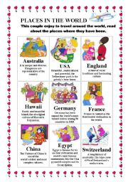 English Worksheet: Places in the world Descriptions of interesting countries