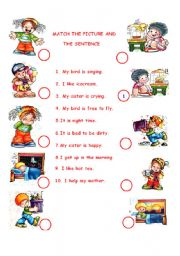 English Worksheets: MATCH THE PICTURE AND THE SENTENCE