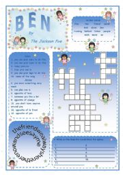 English Worksheet: BEN  - Song by The Jackson 5 ***** 2 pages + key