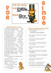 English Worksheet: FOR & SINCE
