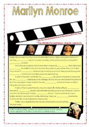 English Worksheet: Marilyn Monroe  (fill in exercise)