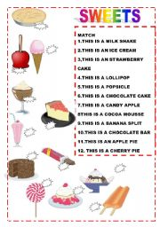 English Worksheet: SWEETS MATCH