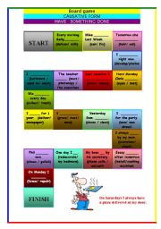 English Worksheet: BOARD GAME - CAUSATIVE FORM - HAVE SOMETHING DONE