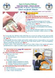 English Worksheet: Ethics In Business and Professions: Schools And Youth Misbehavior. (Author-Bouabdellah) 28-08-2009