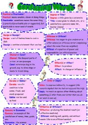 English Worksheets: confusing words (2 pages +key)