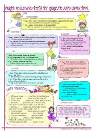 English Worksheets: Verbs followed both by gerund and infinitive(stop,remember,forget,regret,try,mean,allow,understand)