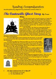 English Worksheets: The Canterville Ghost Story: Reading Comprehension