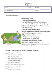 English Worksheets: George�s daily routine (part I)