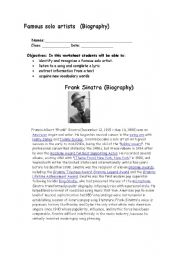 English Worksheet: Frank Sinatra Biography