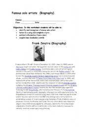 English Worksheets: Frank Sinatra Biography