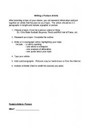 English Worksheet: Writing a Feature Article (Guidelines and Student Outline)