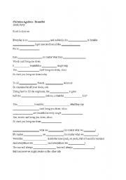 English Worksheets: Beautiful - Christina Aguilera
