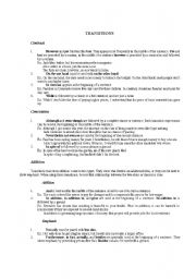 English Worksheets: Transitions