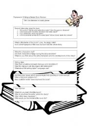 English Worksheet: Writing Book Reviews : A Framework for Scaffolding