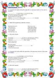English Worksheet: wonder wall (Oasis)