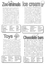 wordsearch - zoo animals - ice cream - toys - chocolate bars