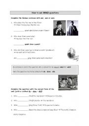 English worksheet: How to ask who-questions