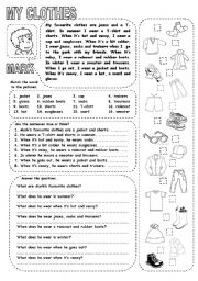 English Worksheet: MY CLOTHES (1)