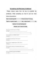 English Worksheet: Accepting and Refusing Invitations