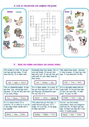 English Worksheet: Animals - Puzzle - Reading
