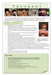 English Worksheet: Yanomami - tribes of the rainforest