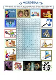 English Worksheets: TV wordsearch