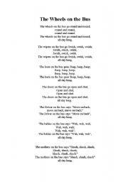 English Worksheet: Wheels on the Bus Lyrics