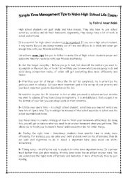 Time Management For High School Students Esl Worksheet By Saliyinna
