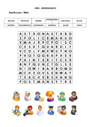 English Worksheets: Jobs - wordsearch