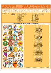 English Worksheet: NOUNS: PARTITIVES