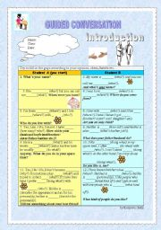 English Worksheet: Guided Conversation - Introduction