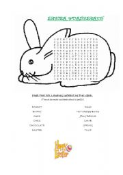photograph regarding Easter Word Search Printable Worksheets known as EASTER WORDSEARCH - ESL worksheet as a result of Fifi75