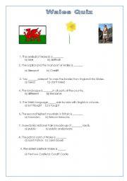 English worksheet: Wales Quiz