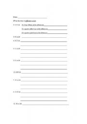 English Worksheet: Telling time in English: Numbers to words